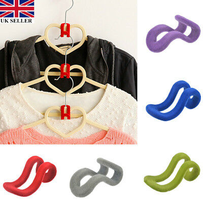 10pcs Magic Anti-slip Mini Flocking Clothes Rack Cascading Hanger Hooks Organ UK