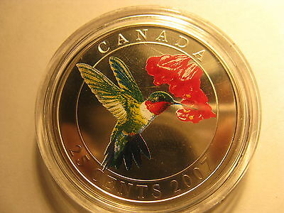 Canada 2007 Ruby Throated Hummingbird Coloured Over Sized 25 Cent Coin Rcm Pack.
