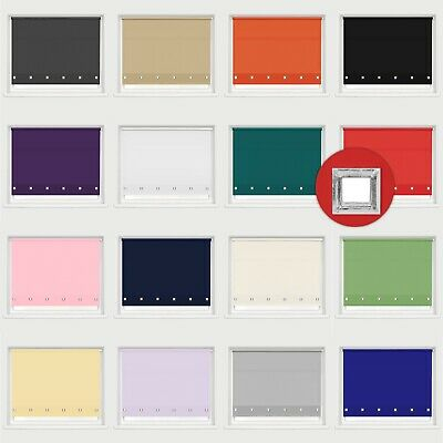 Square Eyelet Plain Fabric Roller Blinds Strong Fittings Child Safe