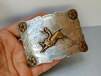 Old Vtg 1960's Don Ricardo Sterling Silver Rodeo Bull Rider Western Belt Buckle