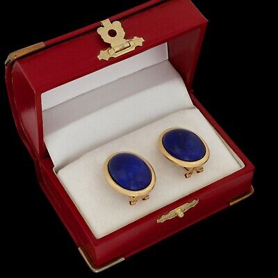 Antique Vintage Deco Retro 18k Gold Oval Cabochon Lapis Lazuli Cluster Earrings