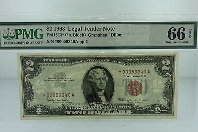 $2 1963 Legal Tender *Star Note* Red Seal PMG 66 EPQ (Exceptional Paper Quality)
