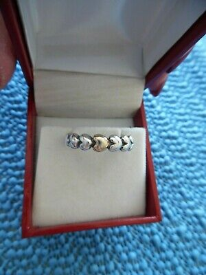 0e7bcd763 PANDORA MY ONE TRUE LOVE Authentic Silver/14K GOLD Hearts Band~Ring Size 7