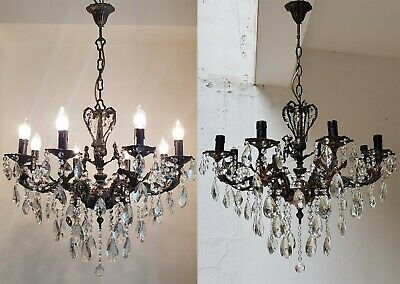 Matching Pair of Antique Vintage 8 Arms Cast Brass & Crystals Cherub Chandelier