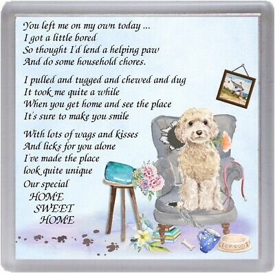 """Cockapoo Dog Coaster """"HOME SWEET HOME Poem ..."""" Novelty Gift by Starprint"""