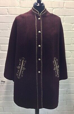 Vintage Aga Modell Austra Burgundy Wool Button Cape Size 38 / One Size
