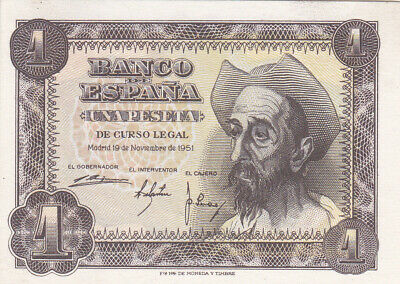 1 Peseta Aunc Crispy Banknote From Spain 1951 Pick-139