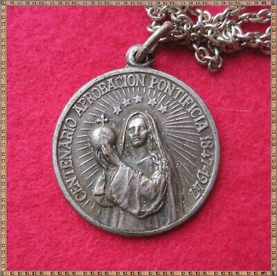 1847 - 1947 JESUS MARIA PENDANT/ MEDALLION ON CHAIN. SPANISH, 30mm dia, see pics