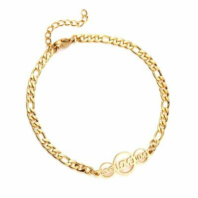 Fashion LOVE Round Hollow Stainless Steel Women Bracelet Bangle Chain Jewelry