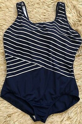 4692a7418f7 NEW LANDS END One Piece Swimsuit Tugless Tank Blue Stripe PLUS 18W ...
