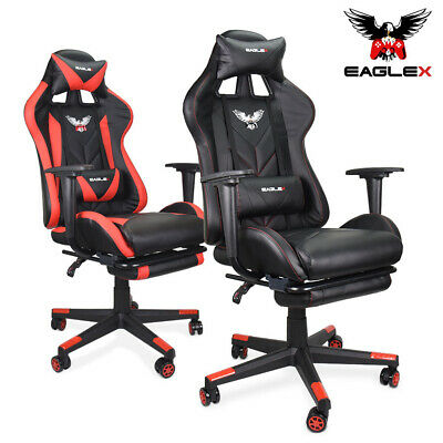 EagleX Gaming Race Chair - Racing Office Cumputer PU Leather Footrest Executive
