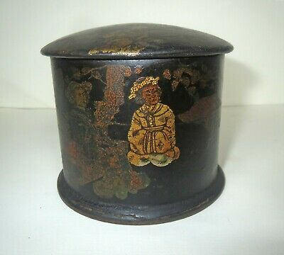 Antique 18TH CENTURY Japanese LACQUER TEA SNUFF BOX - EXTRAORDINARY HAND PAINTED