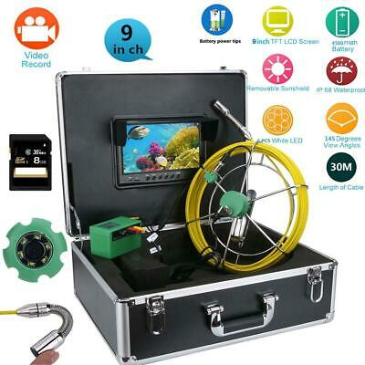 "30M 9""LCD HD DVR Pipeline Drain Sewer Inspection 145°Camera with 8GB TF Card"