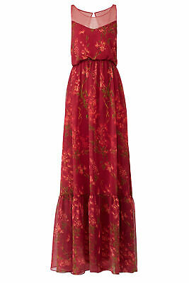 4ae5c6b8 Marchesa Notte Red Women's Size 12 Illusion Floral Print Maxi Dress $795-  #948