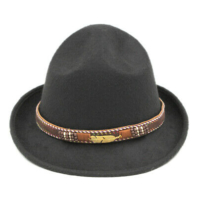 30ff2945 Canada Canadian Mountie Ranger Hat Men Wool Blend Fedora Cap Brown Leather  Band