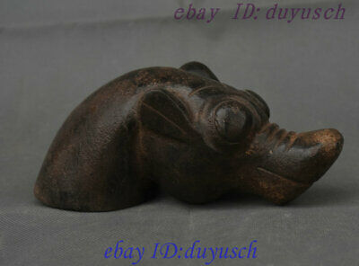 Collect Chinese HongShan Culture Old Jade Carving lucky Beast animal Head Statue