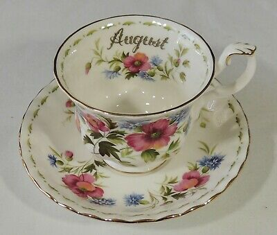 Royal Albert England August Flower Of The Month Poppy Tea Cup & Saucer Excellent