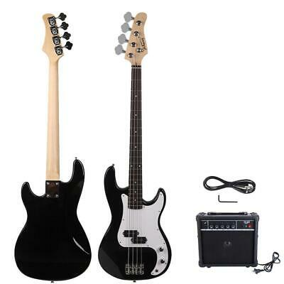 New GP Glarry Electric Bass Guitar Bass w/ 20W AMP Black