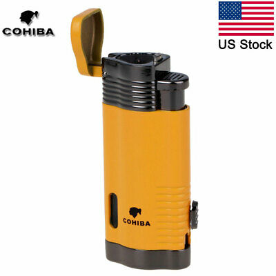 COHIBA Windproof Butane 3 Torch Cigarette Lighter Refillable Cigar Lighter Punch