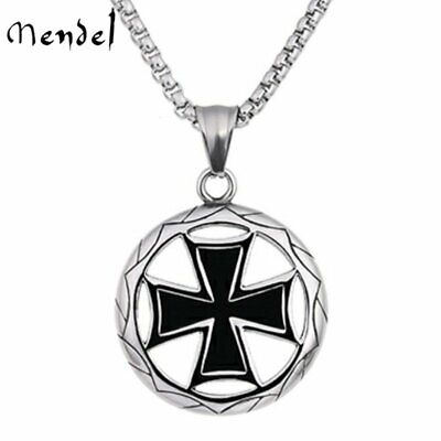 MENDEL Mens Nazi Iron Cross Pendant Necklace Medal Stainless Steel WW2 Jewelry