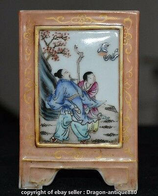 """5.6"""" Marked Chinese Wucai Porcelain Dynasty People Flower Brush Pot Pencil Vase"""