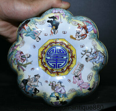 """6.4"""" Qianlong Marked Old China Qing Cloisonne Enamel 8 Immortals Jewelry box"""
