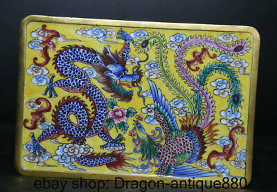 "5.8"" Qianlong Marked Old China Qing Cloisonne Enamel Dragon Phoenix Jewelry box"