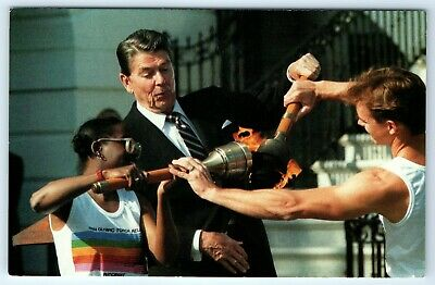 President Reagan Lighting Olympic Flame Postcard Post Card May 4 1984