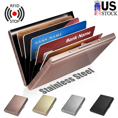 Stainless Steel Case Slim RFID Blocking Wallet ID Credit Card Holder Men Women