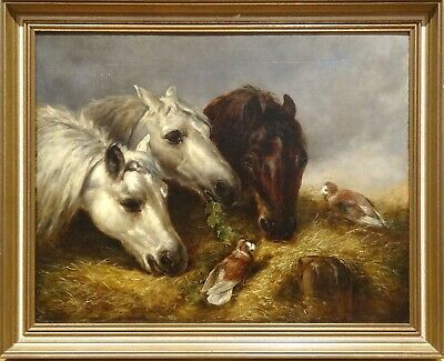 19th Century English Portrait Of Three Horses Heads Birds John Frederick HERRING