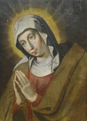 17th Century Italian School St Catherine Of Siena In Prayer Antique Oil Painting