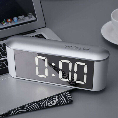 LED Digital Alarm Clock Thermometer Touch Table Desk Make-up Mirror New