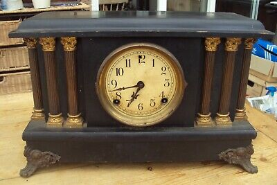 Large Antique American Wooden Mantel Clock In Need Of Work.