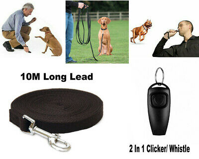 Dog Pet Puppy Training Lead Leash 10M Long Obedience Recall + Whistle Clicker