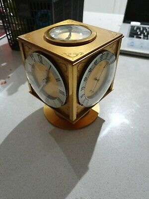 Antique Angelus Swiss Brass Table Clock Weather Station HOUR LAVIGNE (8 Day)