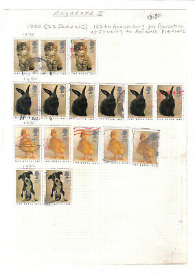 (AP5)Stamps.GB.QE II.150th.Anniversary of RSPCA 1990.16 stamps on page