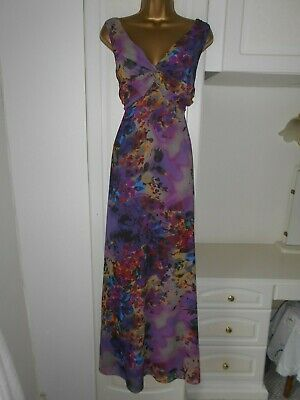 Smart Lined Chiffon Occasion Dress By Linea In Vg Con Size Uk 14 Bust 38""