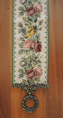 Vintage Danish Hand Worked Tapestry Cross Stitch Bell Pull Wall Hanging