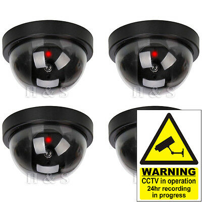 4x Fake Dummy CCTV Dome Security Camera Flashing LED Indoor Outdoor Warning Sign