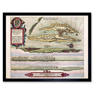 Map Linschoten 1594 Vardo Norway Upside Down Wall Art Print Framed 12x16