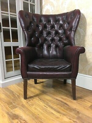 SUPERB Vintage Chesterfield oxblood barrel backed wingback armchair,
