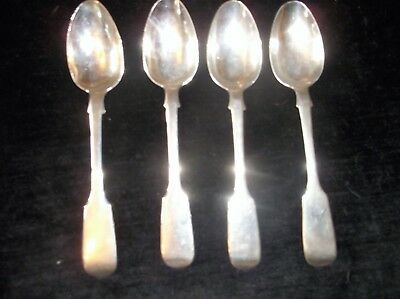 4 X ANTIQUE FIDDLE TEA SPOONS HALLMARKED SILVER 1867 LONDON HENRY HOLLAND 91.5g
