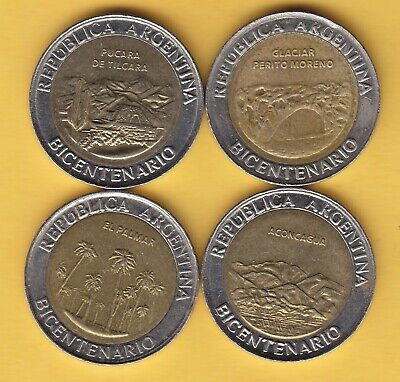 "Argentina  1 Peso  2010  ""Bicentennial""  lot of 4 coins"