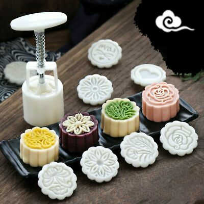 4pcs Flower Stamps Moon Cake Decor Mould Barrel Round Pastry 100g Mooncake Mold