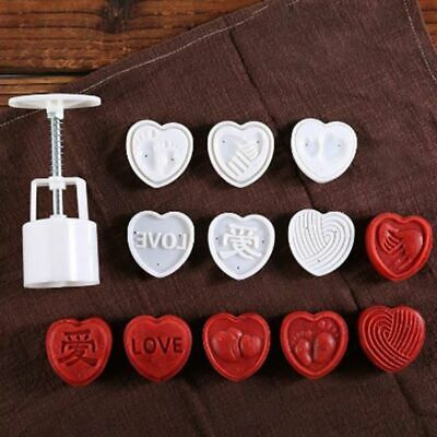 6pcs 3D Heart Stamps Moon Cake Decor 50g Mould Barrel Mooncake Mold Pastry Tool