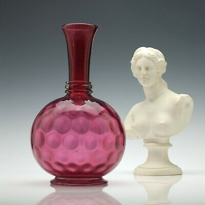 Large Antique 19th Century Victorian Cranberry Glass Wine Carafe c1880