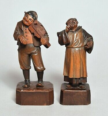 Two Good Antique Anri Italian Carved Wooden Figures, Musician & Monk
