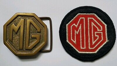 VINTAGE 1970s **MG** CAR COMPANY LOGO SOLID BRASS BARON BELT BUCKLE & PATCH