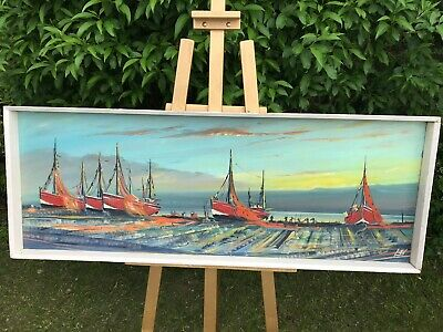 """FABULOUS FRAMED & SIGNED OIL PAINTING - CORNISH FISHING BOATS AT SUNSET 48x18"""""""
