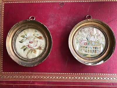 Pair of Antique Georgian Embroderies on Silk Framed Antique Embroidery Flowers